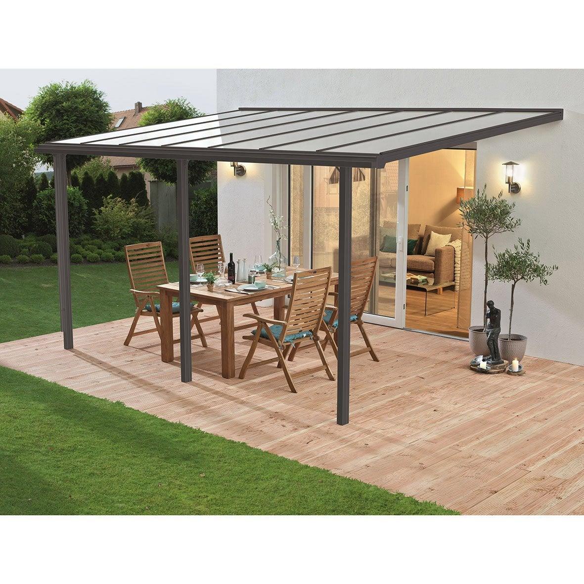 couverture de terrasse adoss e tradition aluminium gris 13 m leroy merlin. Black Bedroom Furniture Sets. Home Design Ideas