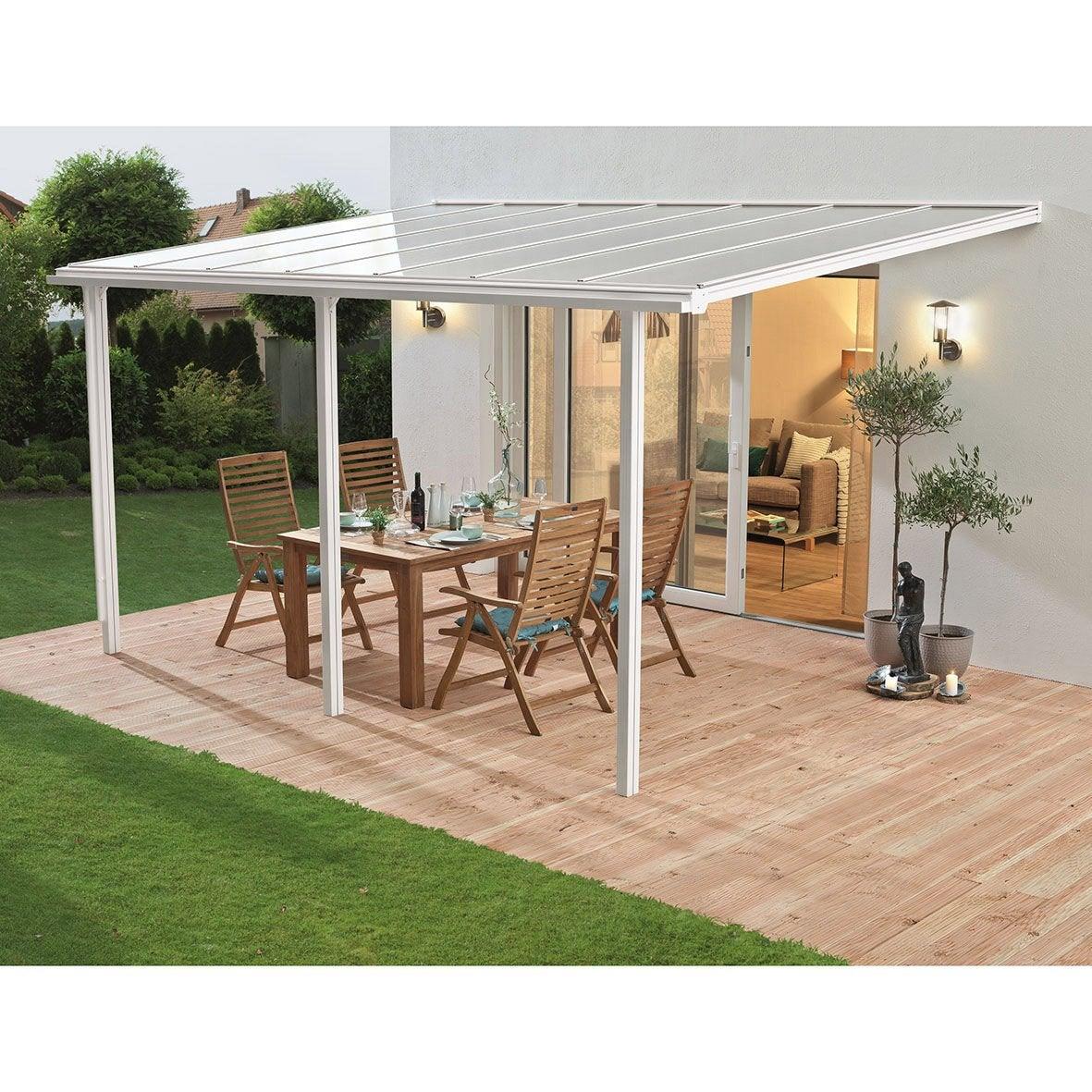 Couverture de terrasse adossée Tradition, aluminium blanche, 13 m² ...
