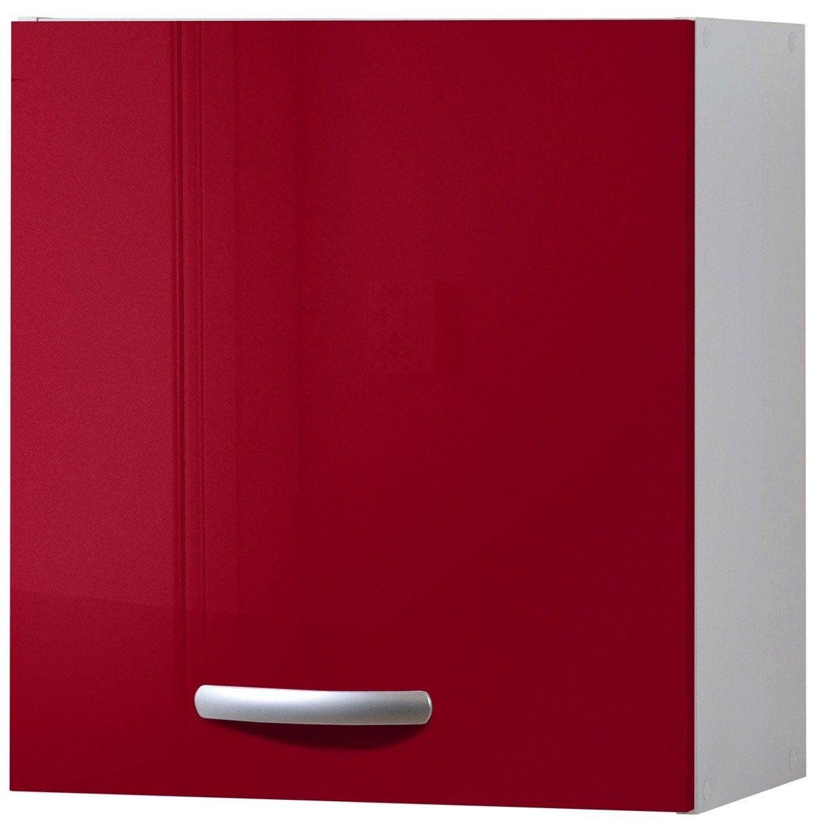 Meuble de cuisine haut 1 porte rouge brillant h57x l60x for Meuble porte rouge