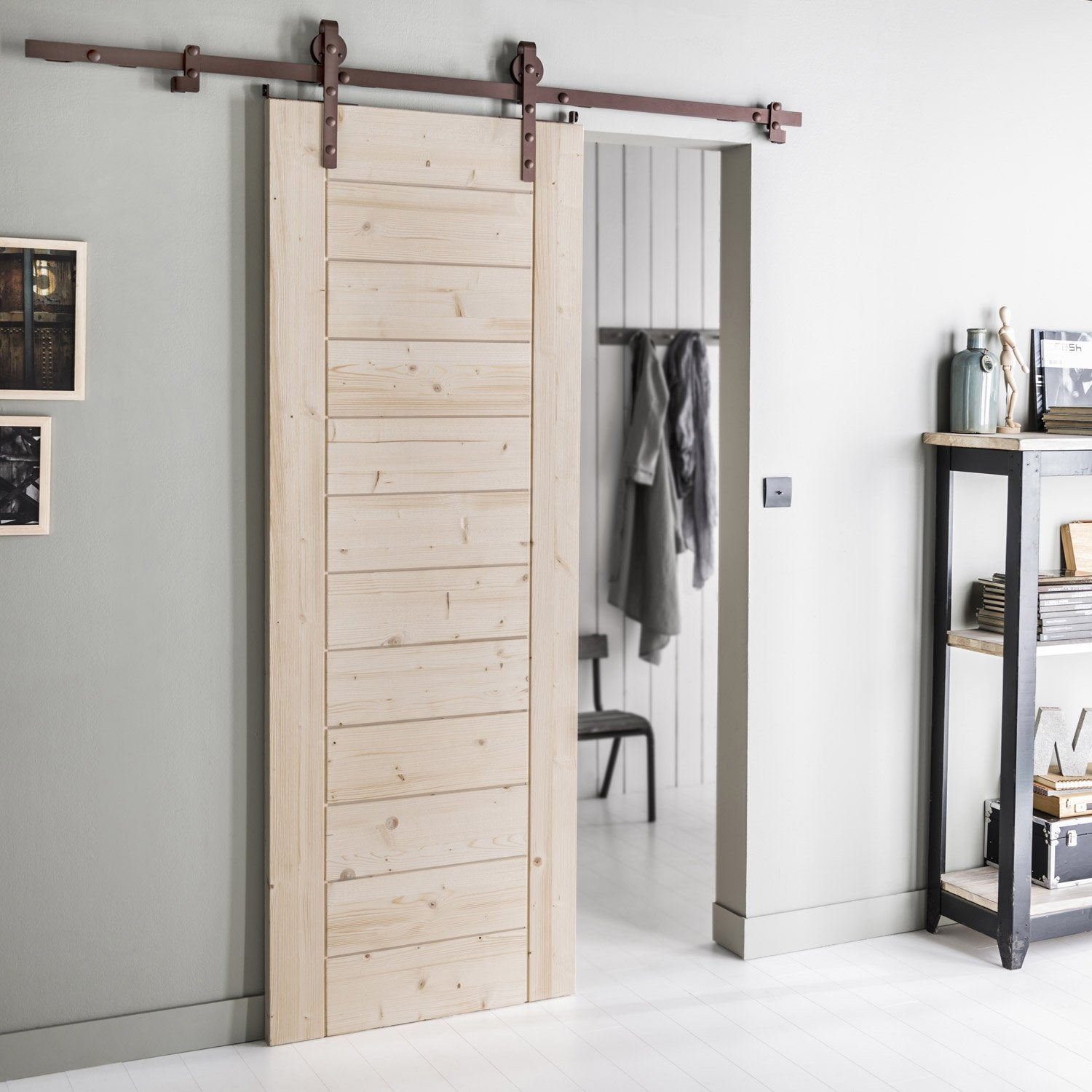 Ensemble porte coulissante horizon sapin avec le cottage for Porte de chambre leroy merlin