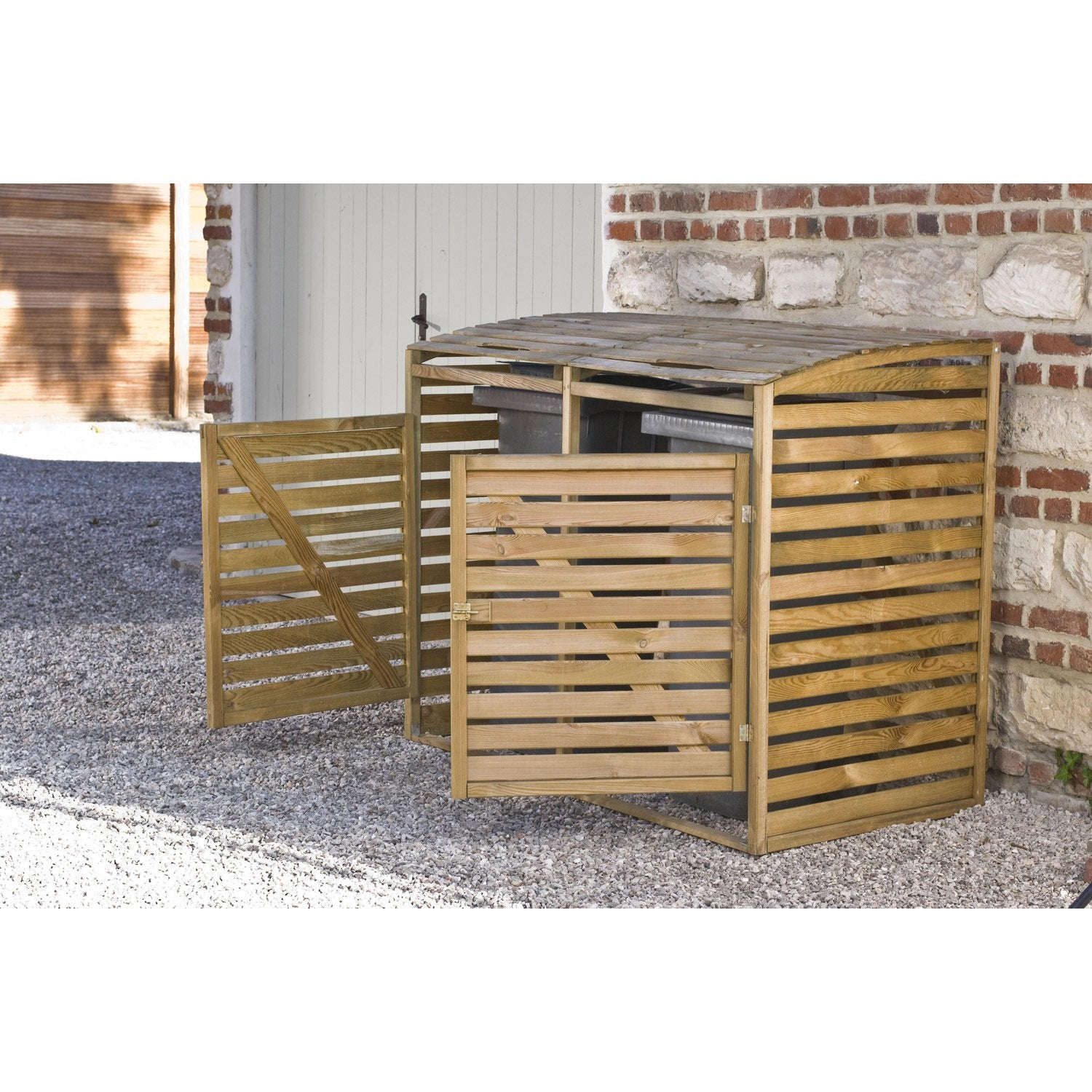 Cache Poubelle Simple En Bois Double M3 Leroy Merlin