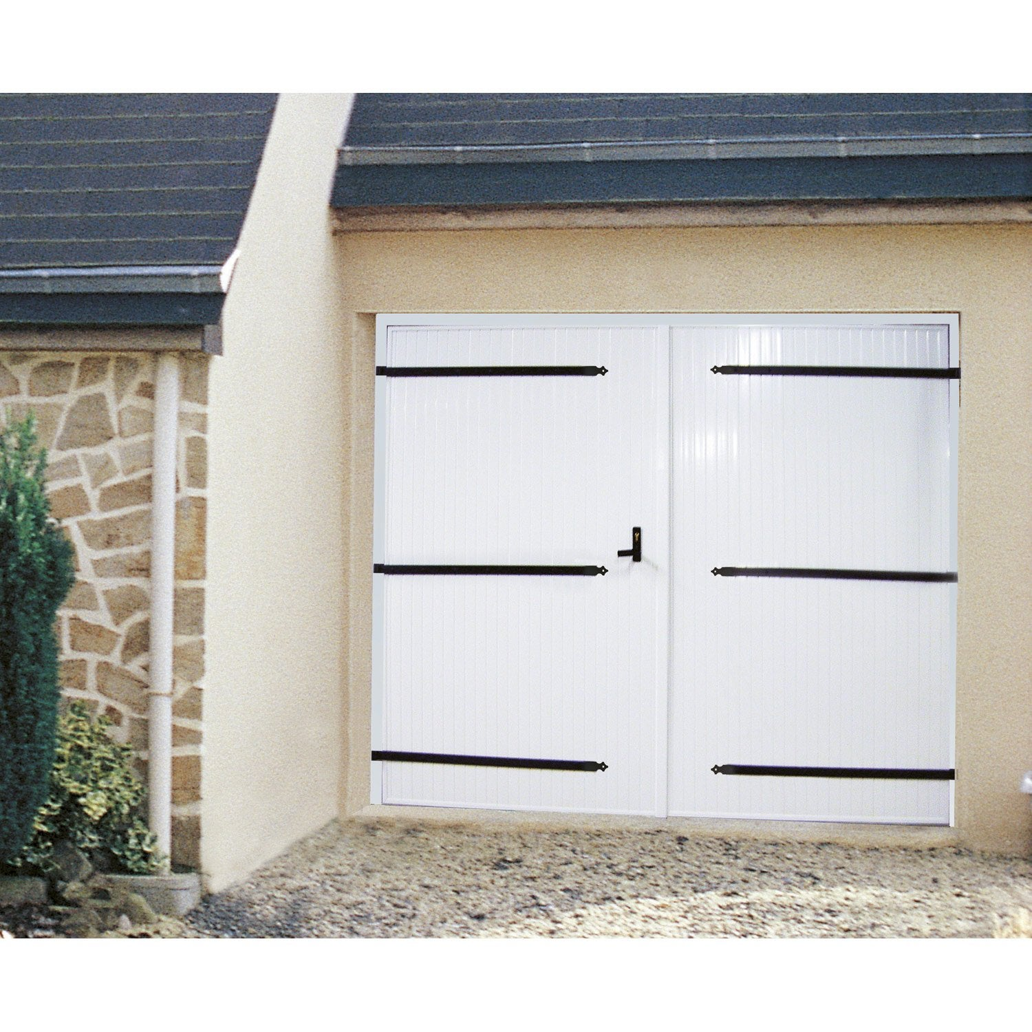 Porte de garage 2 vantaux artens x cm leroy for Porte de garage 2 battants sur mesure