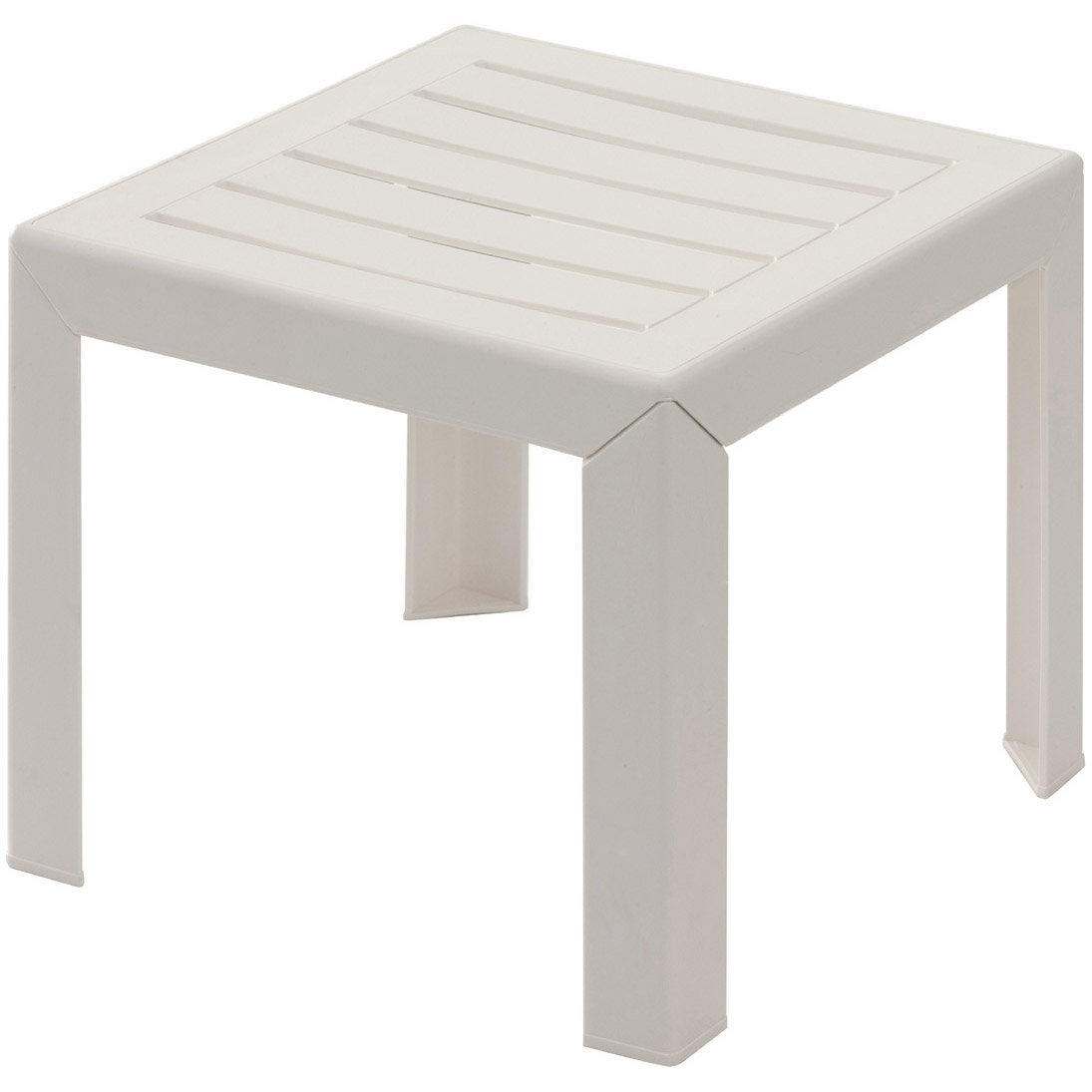 Table basse grosfillex miami carr e blanc leroy merlin for Table de nuit leroy merlin