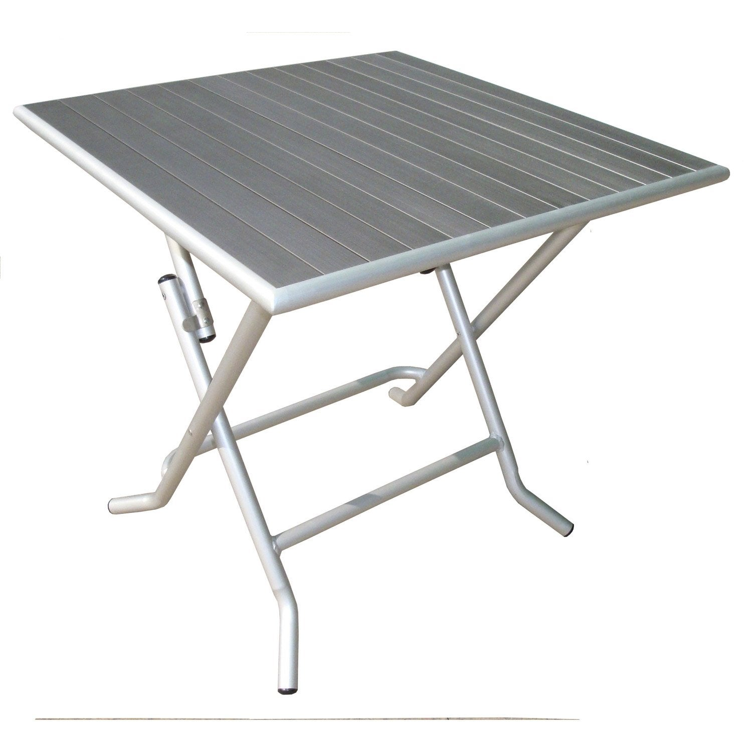 Table de jardin naterial boston carr e gris 4 personnes for Table exterieur pliante