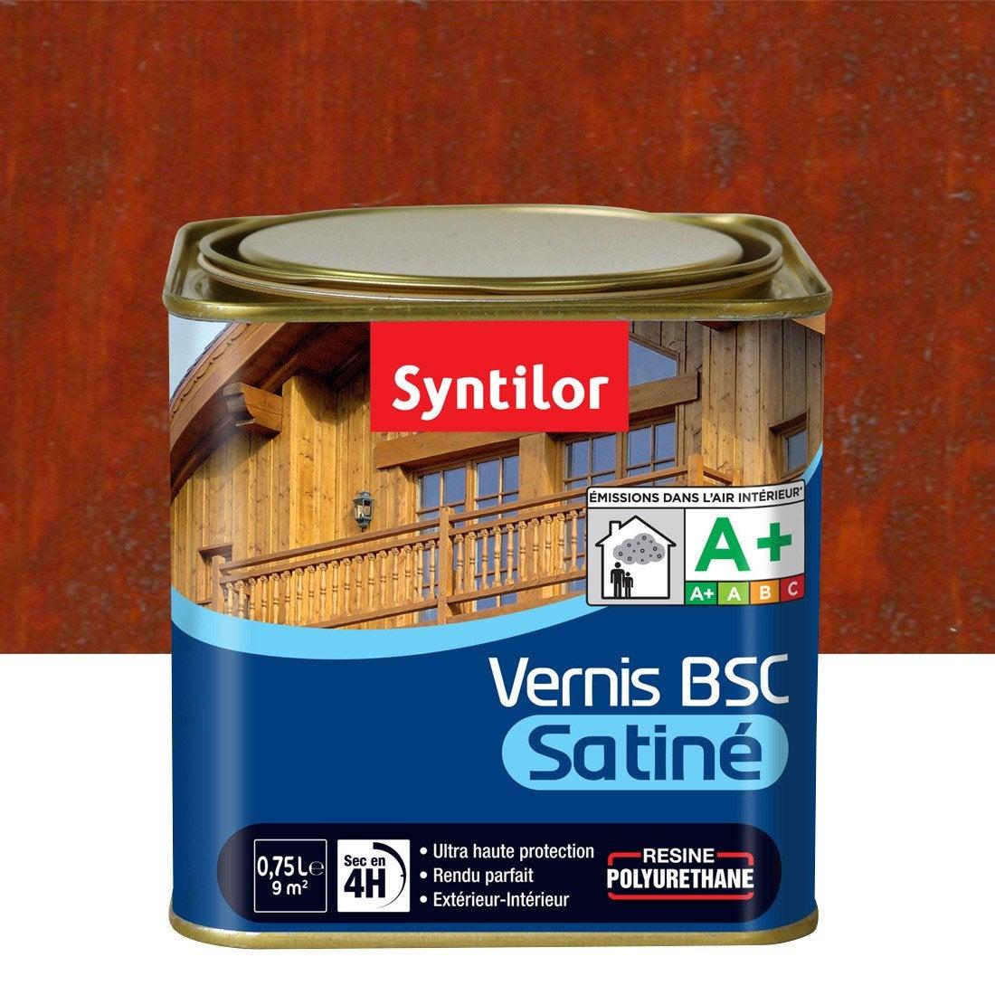 Vernis SYNTILOR Bsc satine 075 l, bois rouge  Leroy Merlin ~ Vernis Bois Rouge