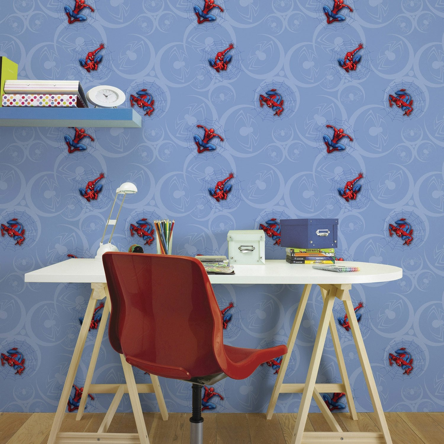 papier peint papier disney spiderman bleu leroy merlin. Black Bedroom Furniture Sets. Home Design Ideas