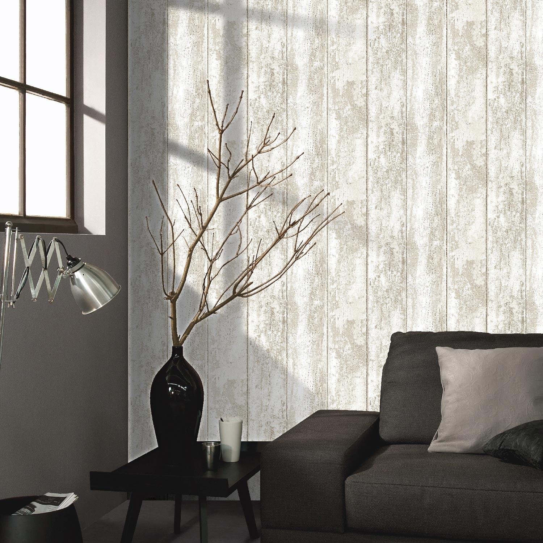 Papier peint papier monrovilla blanc leroy merlin for Modele papier peint pour couloir