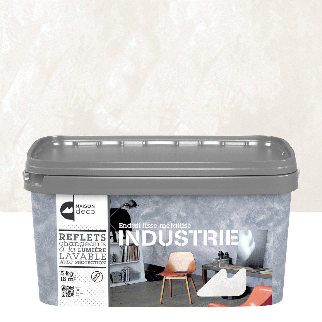 Peinture effet industrie maison deco titane 5 kg for Enduit a la chaux leroy merlin