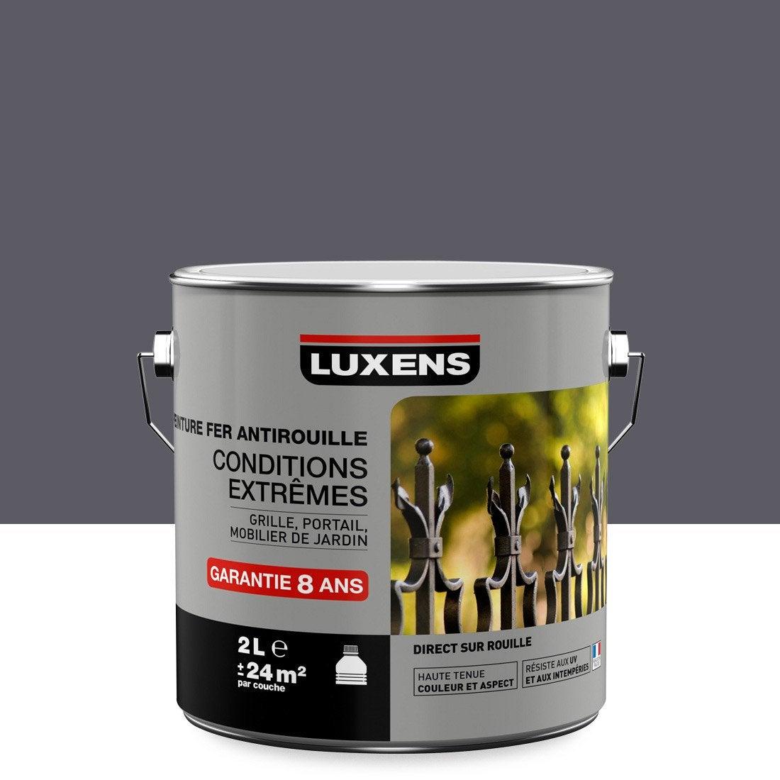 Peinture fer ext rieur antirouille luxens gris galet n 1 for Peinture exterieur leroy merlin