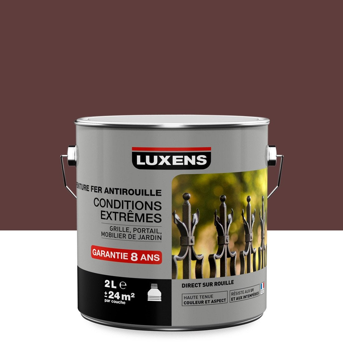Peinture fer ext rieur antirouille luxens rouge basque 2 l leroy merlin for Peinture mur leroy merlin