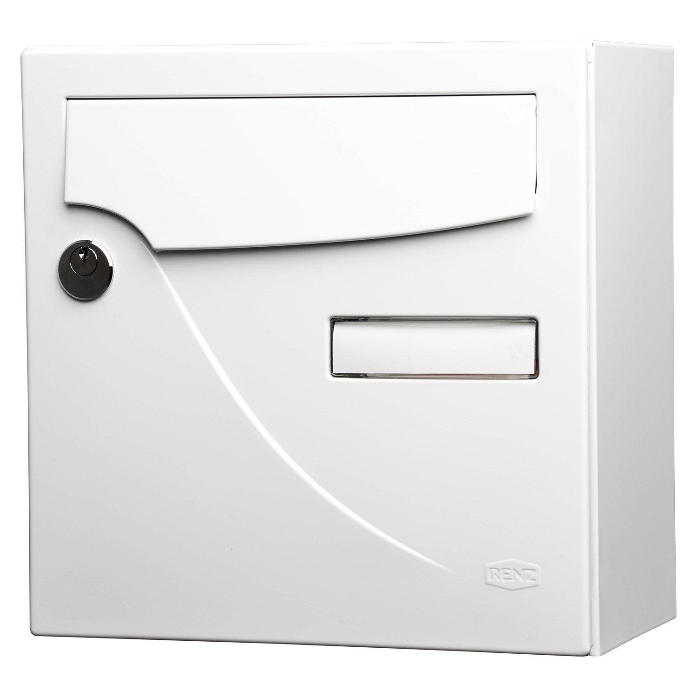 Bo te aux lettres compacte 1 porte renz essentiel en acier blanc leroy merlin - Leroy merlin boite aux lettres ...