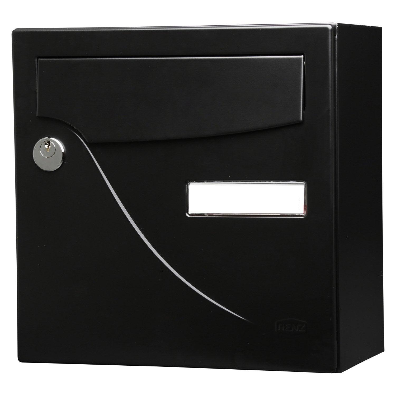 Boite Aux Lettres En Bois Leroy Merlin : aux lettres compacte 1 porte RENZ Essentiel en acier noir Leroy