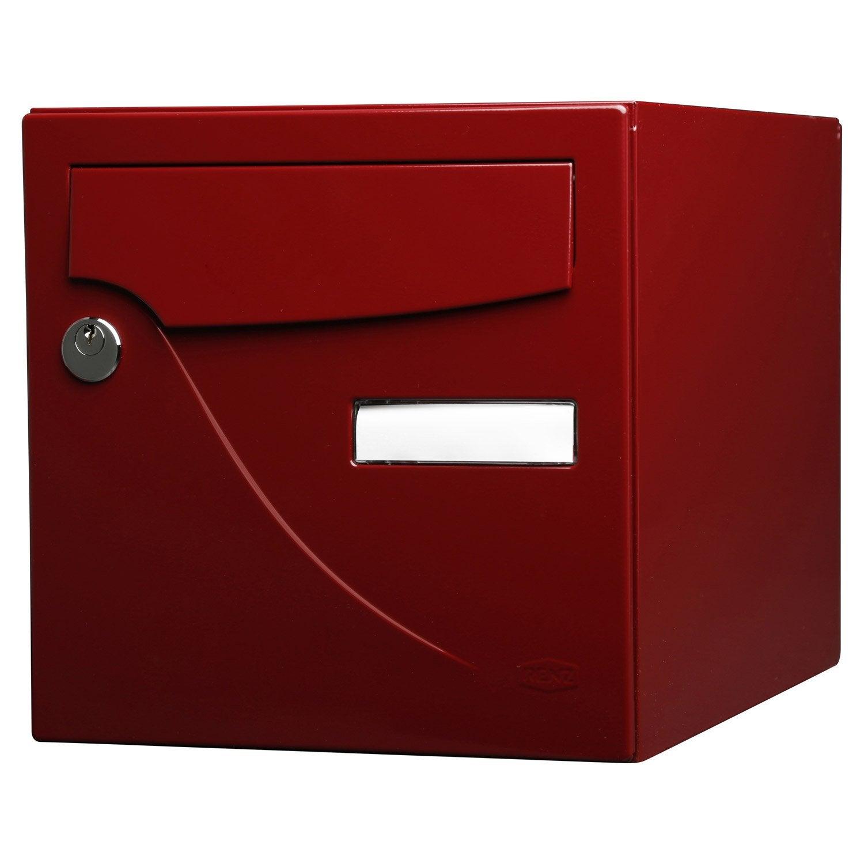 Bo te aux lettres normalis e la poste 2 portes renz essentiel acier bordeaux leroy merlin - Boites aux lettres la poste ...