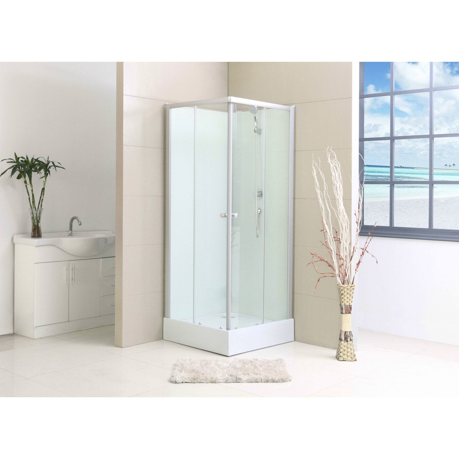 Cabine de douche nerea2 simple mitigeur carr 80x80 cm for Leroy merlin colonne de douche