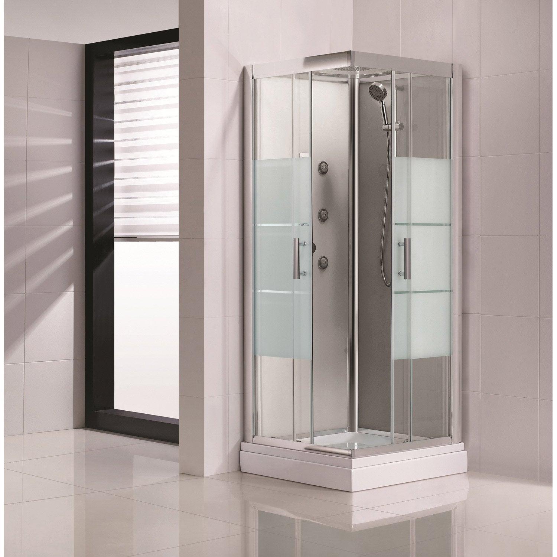 Cabine de douche carr 80x80 cm optima2 grise leroy merlin - Avis cabine de douche ...