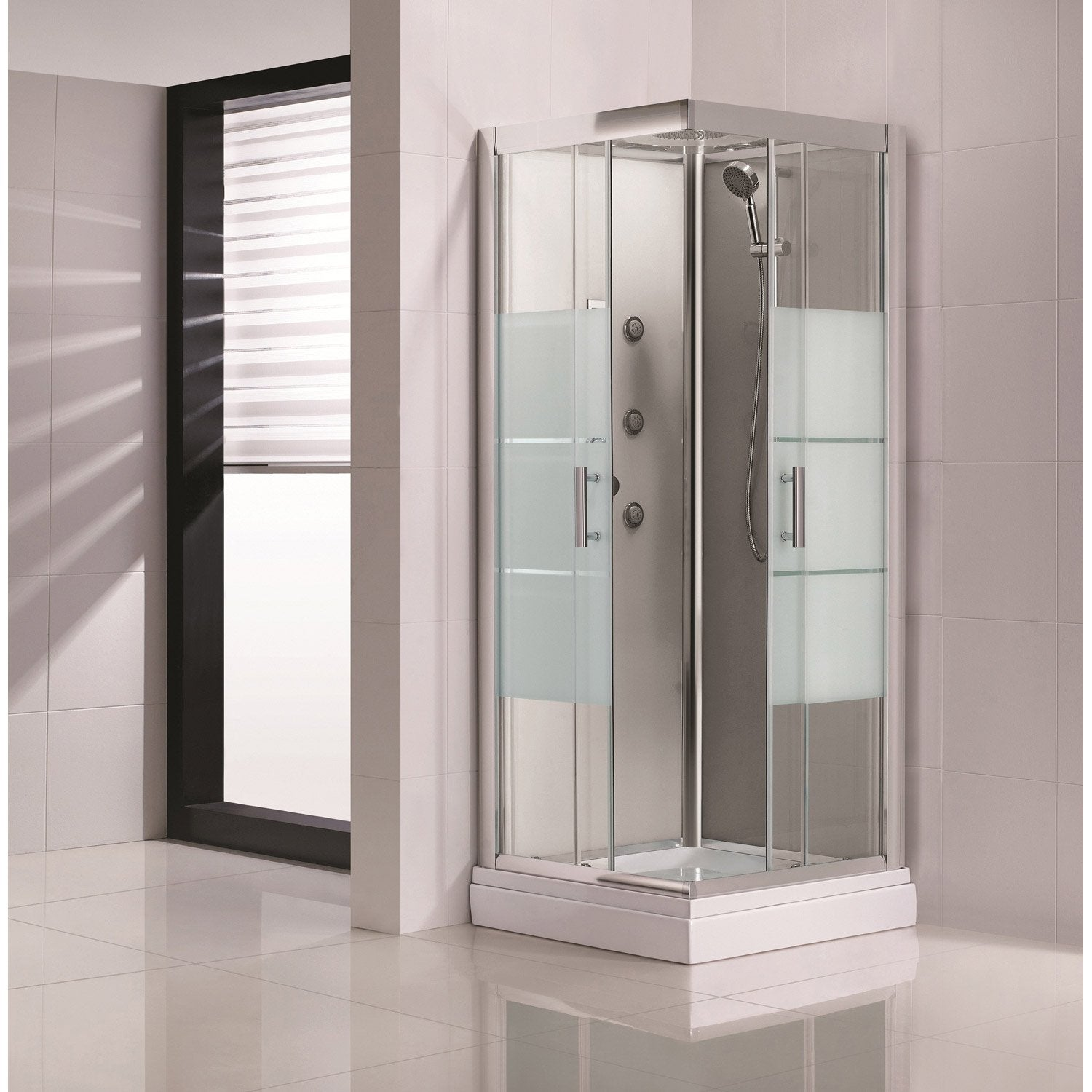 Cabine de douche carr 90x90 cm optima2 grise leroy merlin for Cabine de douche pour comble