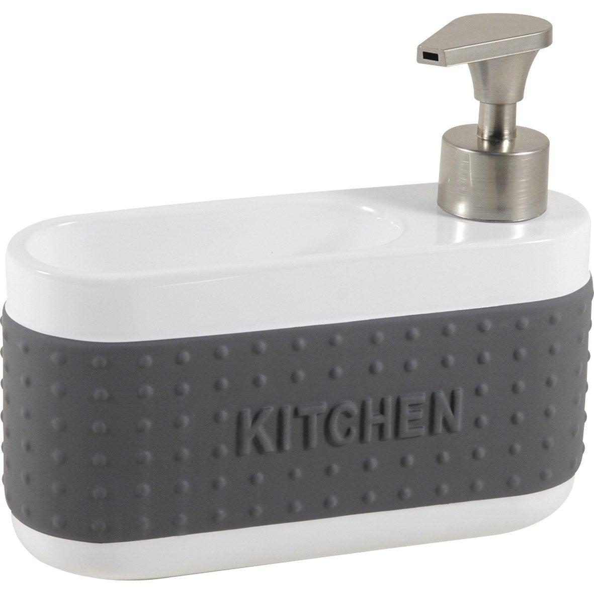 Distributeur de savon avec porte ponge c ramique gris for Porte eponge rigolo