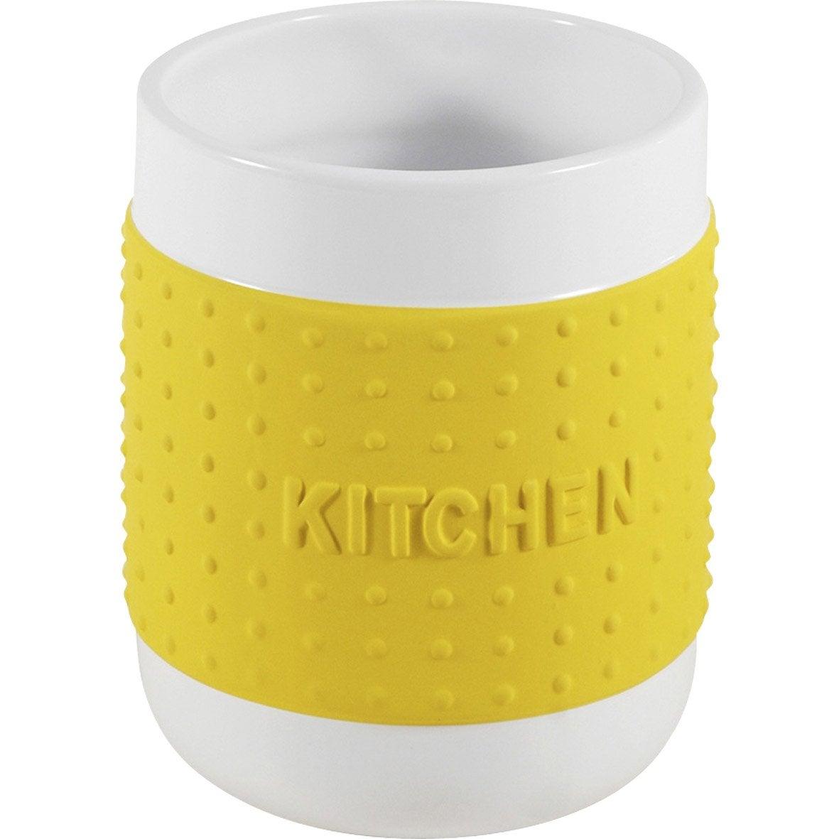 Poubelle cuisine jaune for Pot a couverts cuisine