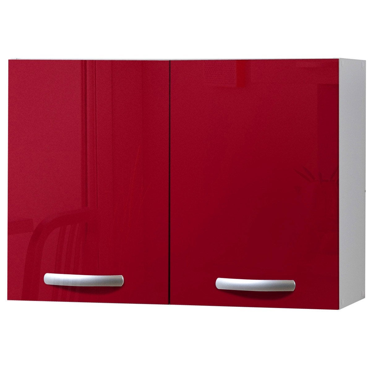 Meuble de cuisine haut 2 portes rouge brillant h57x l80x for Portes elements cuisine leroy merlin