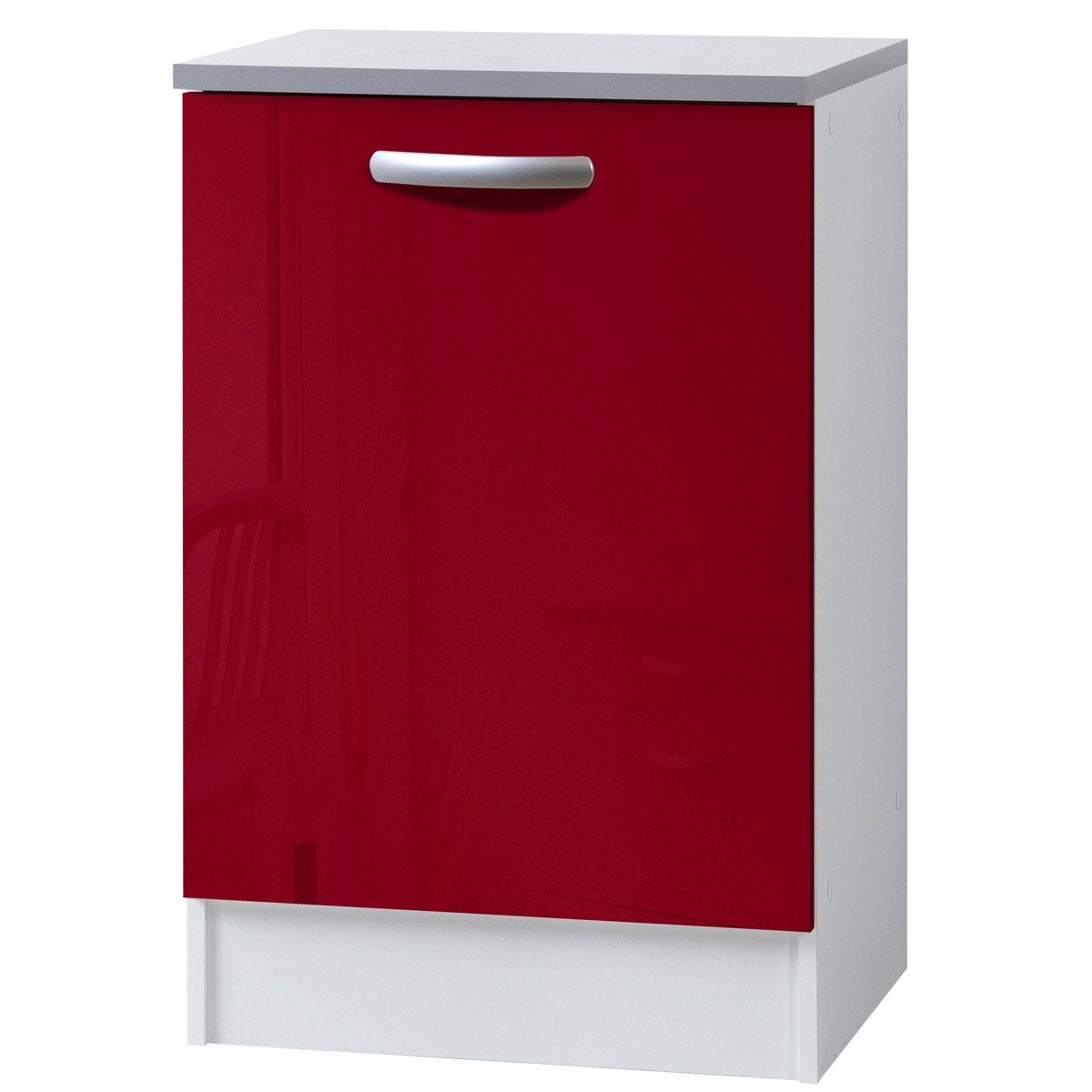 Meuble de cuisine bas 1 porte rouge brillant h86x l60x for Meuble bureau 60 x 60