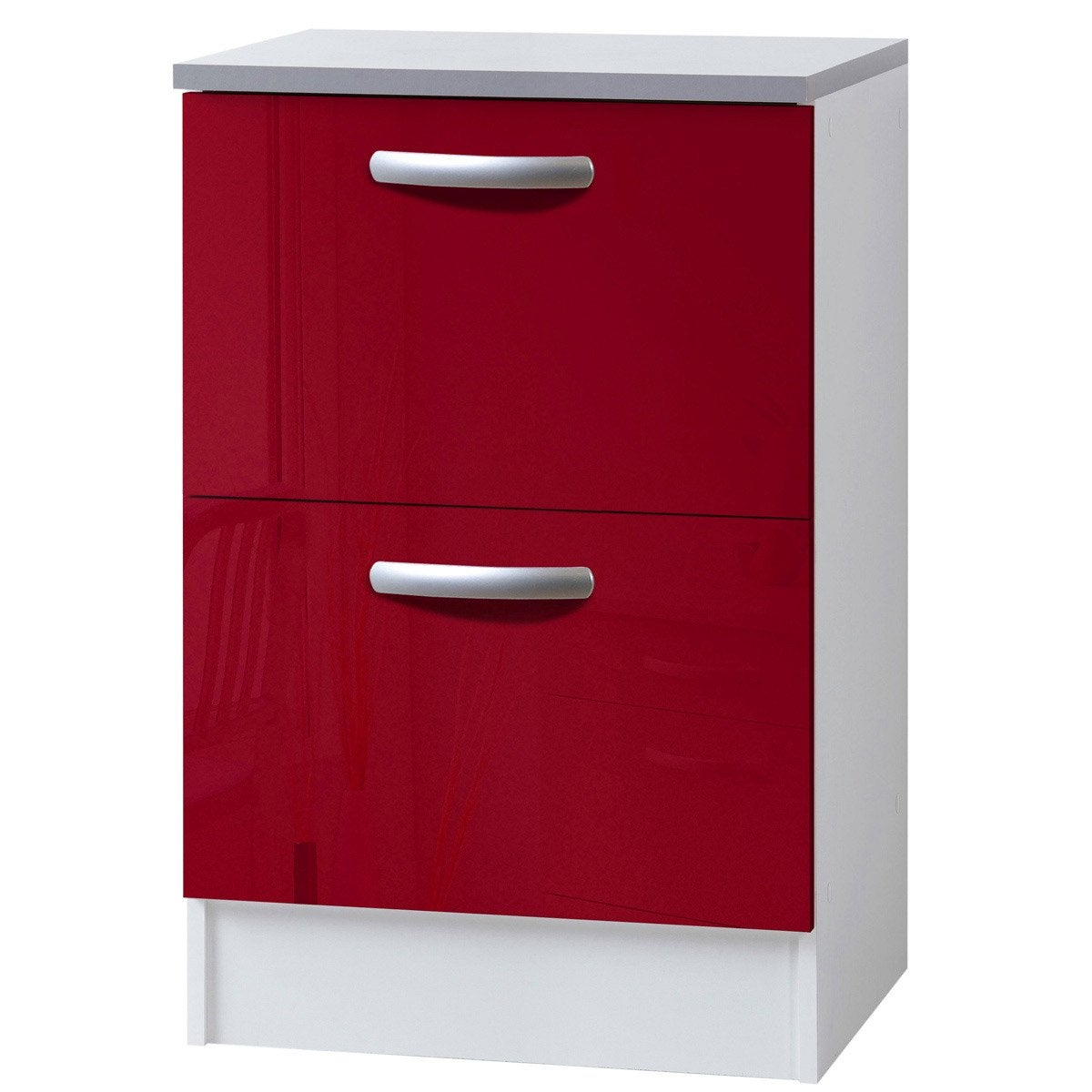 meuble de cuisine bas 2 tiroirs casseroliers rouge brillant h86x l60x p60cm leroy merlin. Black Bedroom Furniture Sets. Home Design Ideas