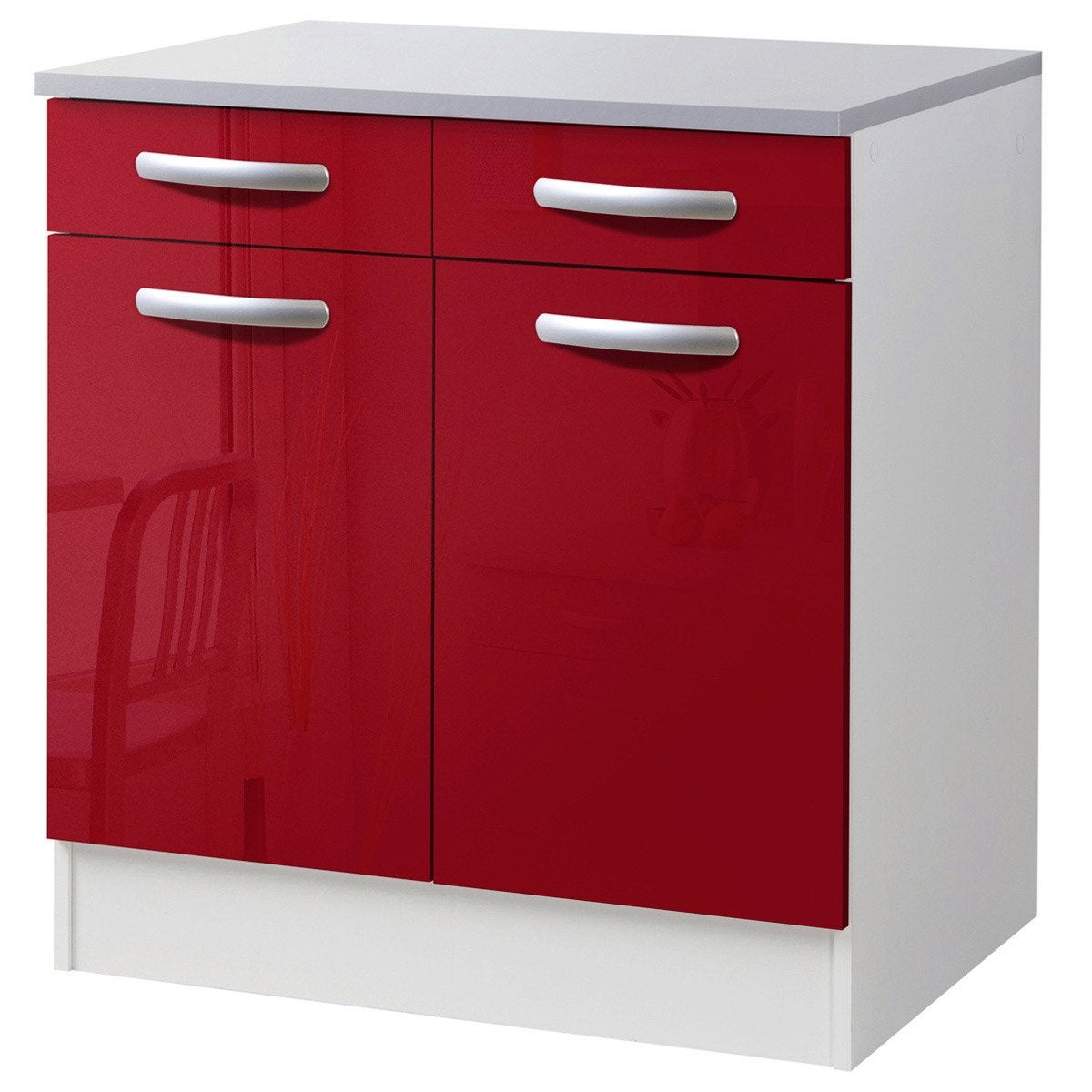 Meuble de cuisine bas 2 portes 2 tiroirs rouge brillant for Amenagement meuble bas cuisine