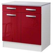 Meuble de cuisine bas 2 portes + 2 tiroirs, rouge brillant, h86x l80x p60cm