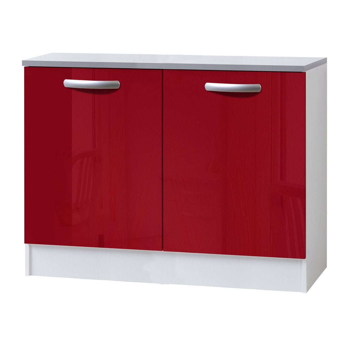 Meuble de cuisine bas 2 portes rouge brillant h86x l120x for Portes elements cuisine leroy merlin