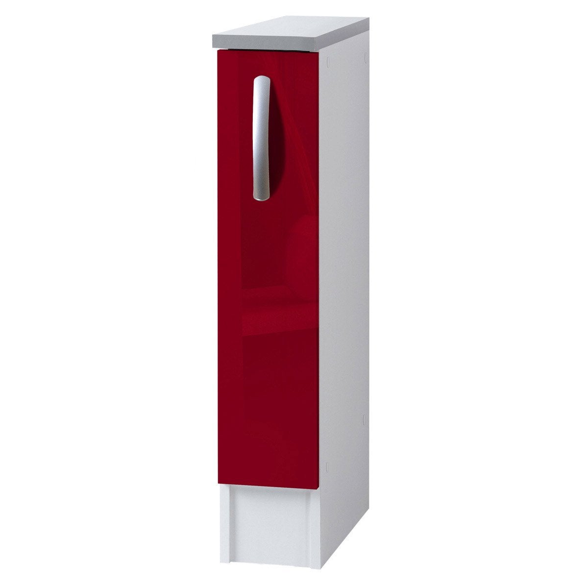 Meuble de cuisine bas 1 porte rouge brillant h86x l15x for Porte 60 cm de large