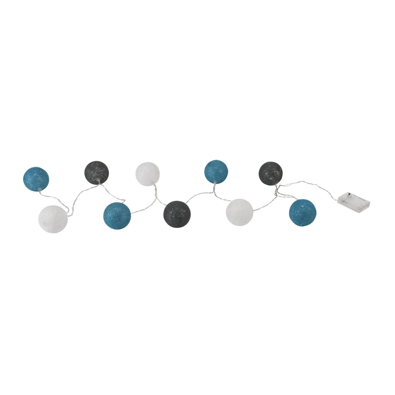 Guirlande led hataru inspire coton sur pvc gris blanc et turquoise w - Guirlande boule de couleur ...