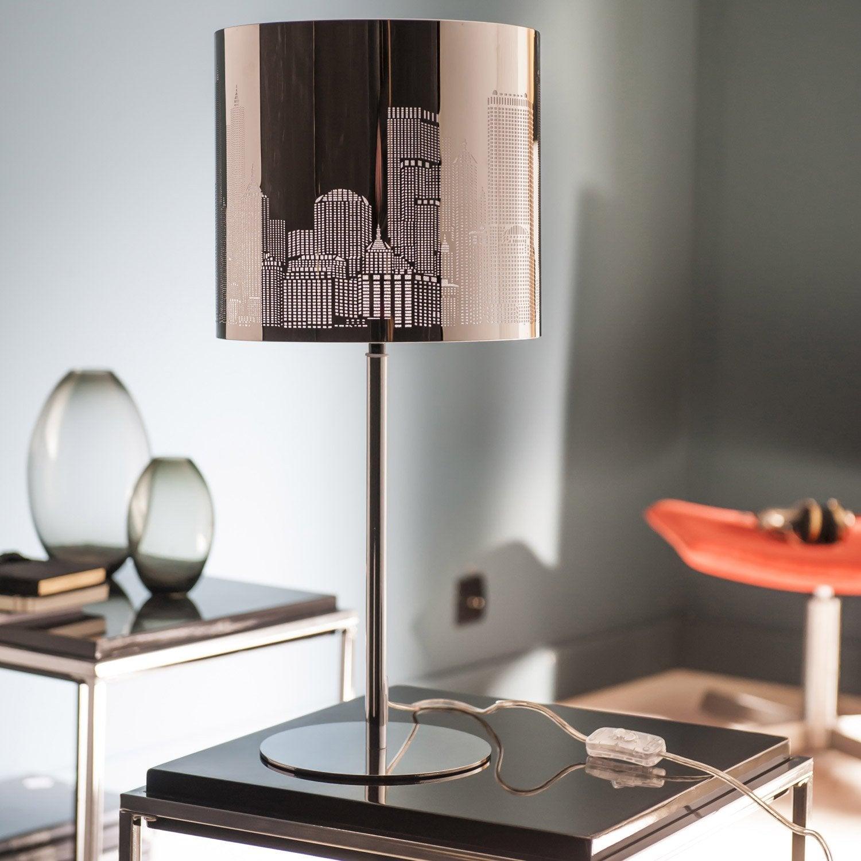 lampe new york inspire m tal chrom 60 w leroy merlin. Black Bedroom Furniture Sets. Home Design Ideas