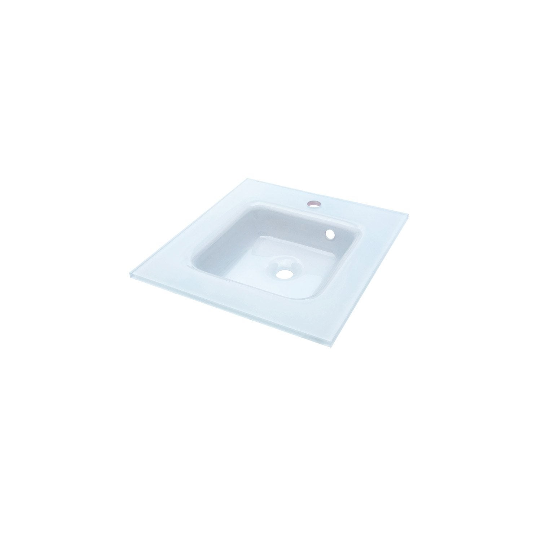 Plan vasque simple ice verre 46 cm leroy merlin for Leroy merlin plan vasque