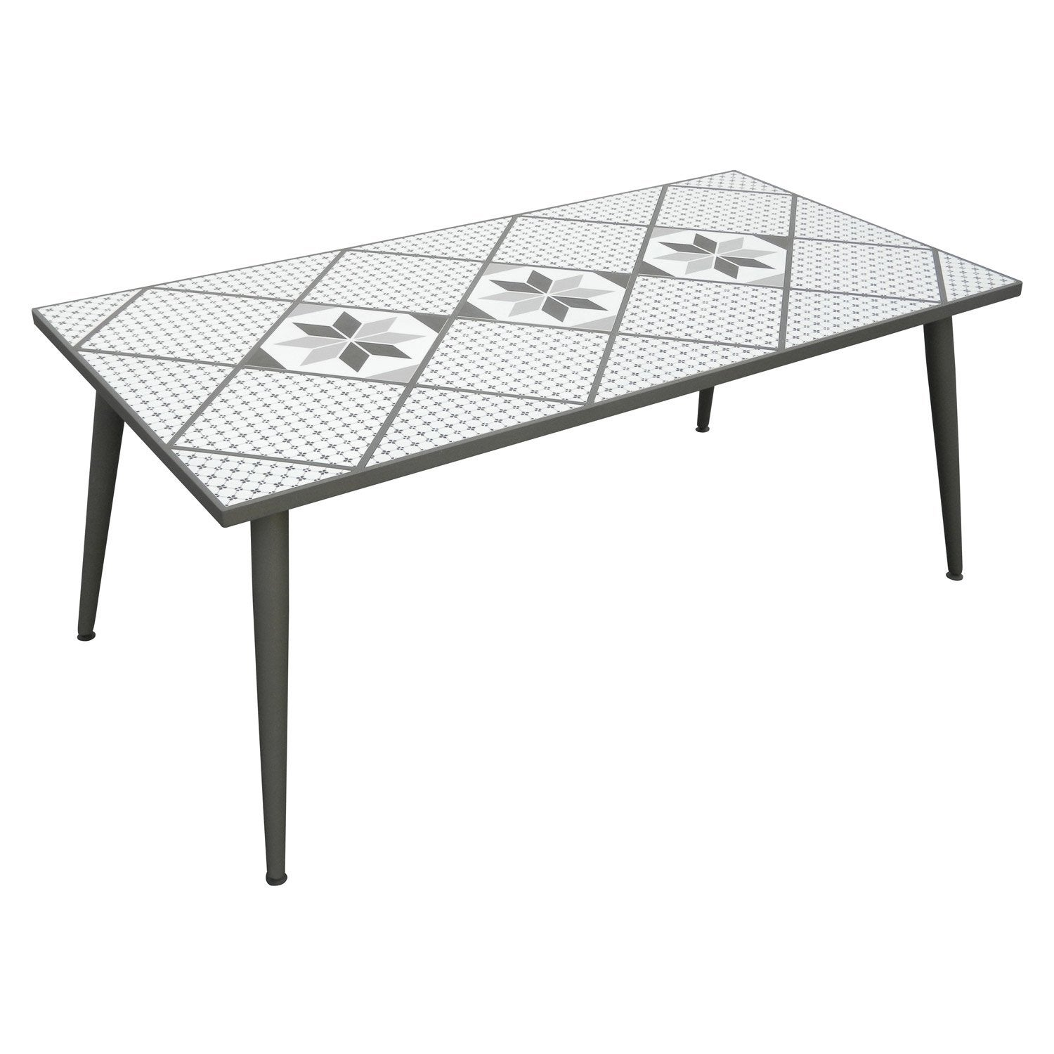 Table de jardin mosaika rectangulaire gris 6 personnes for Table 6 10 personnes
