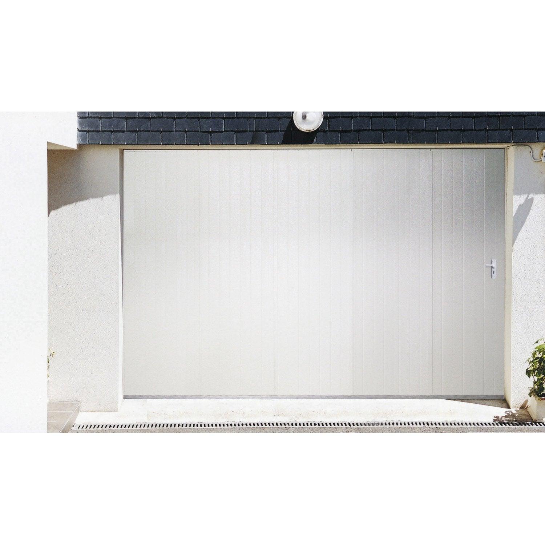 Porte de garage coulissante portillon gauche artens - Porte de garage coulissante motorisee leroy merlin ...