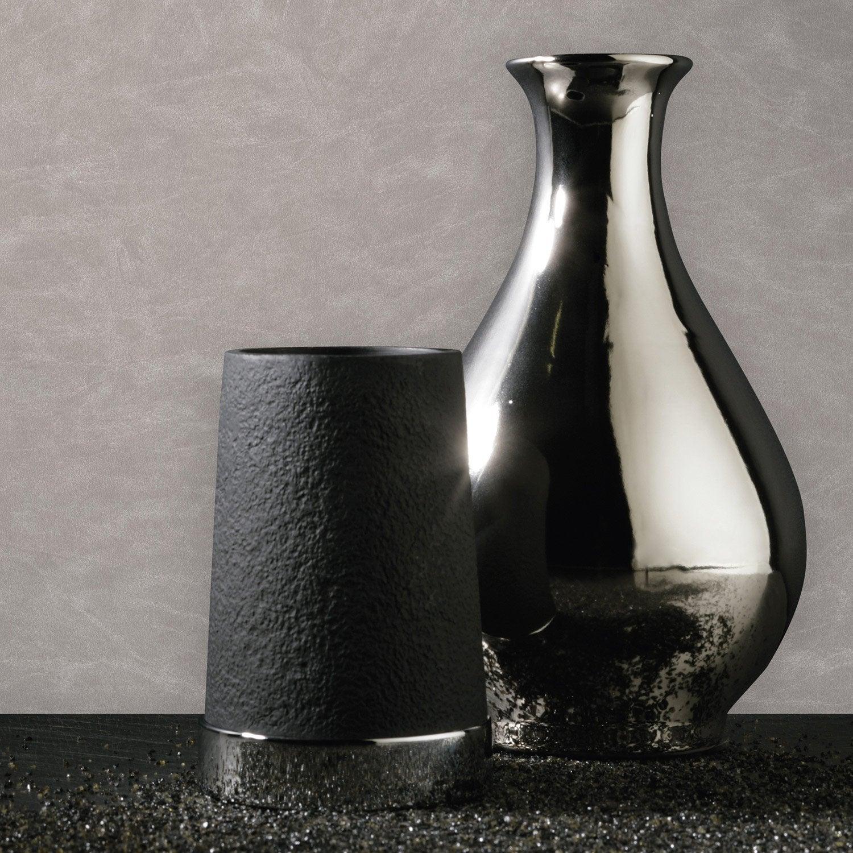 papier peint intiss uni cuir gris leroy merlin. Black Bedroom Furniture Sets. Home Design Ideas