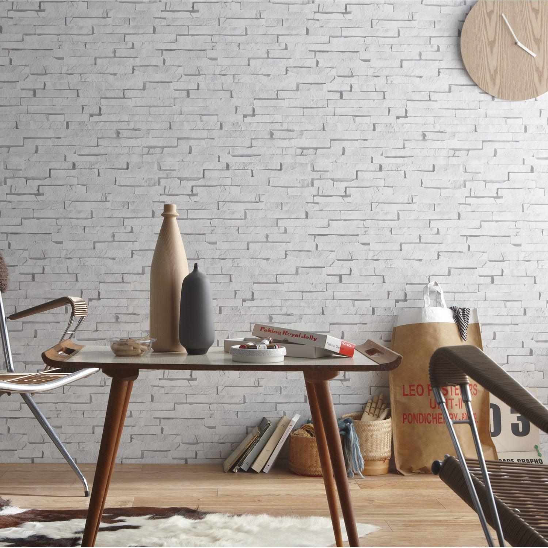 Papier peint sur intiss inspire craie briquettes blanc - Peinture sur papier peint leroy merlin ...