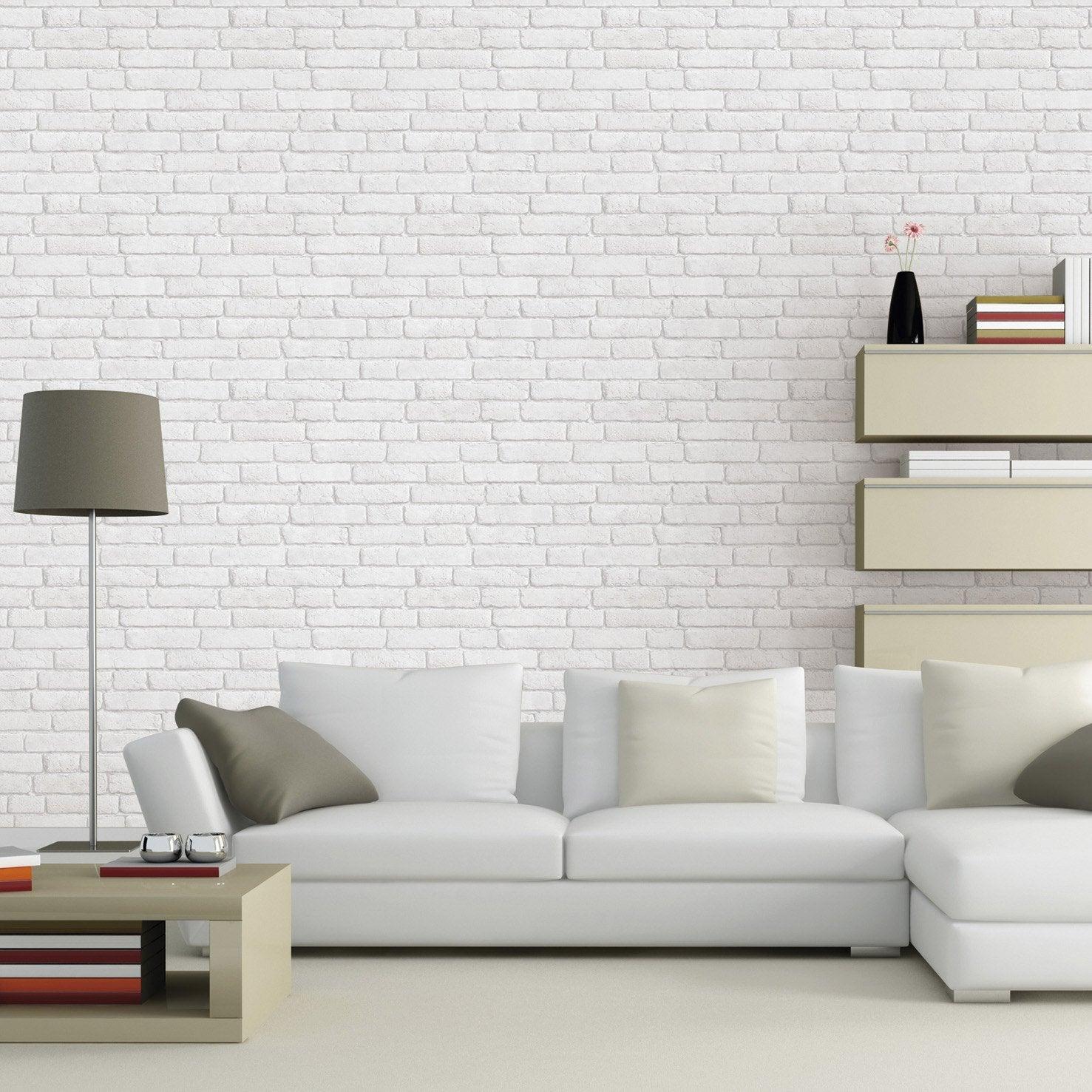 Papier peint intiss briques anciennes blanc leroy merlin for Mur brique salon