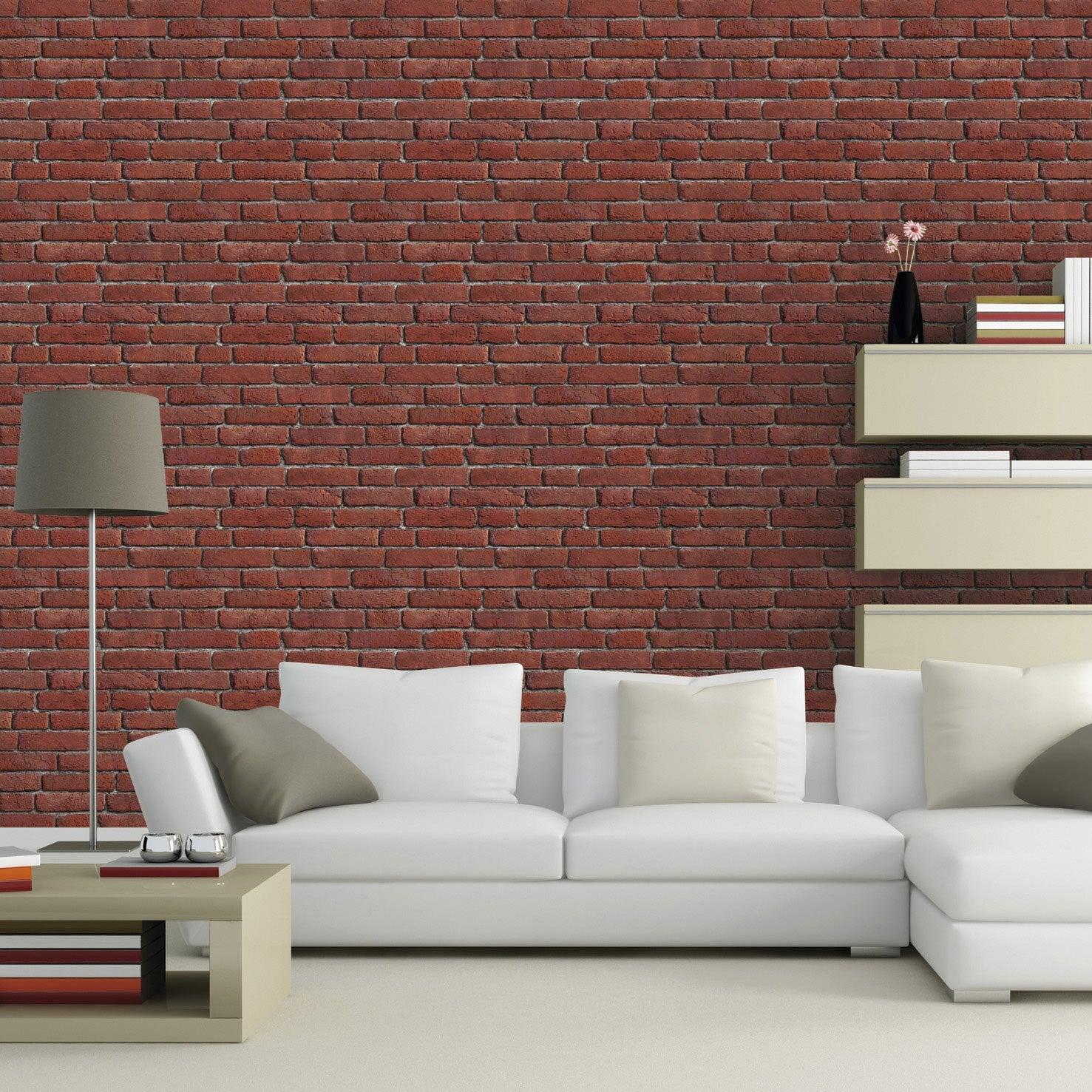 papier peint sur intiss inspire briques anciennes orange. Black Bedroom Furniture Sets. Home Design Ideas
