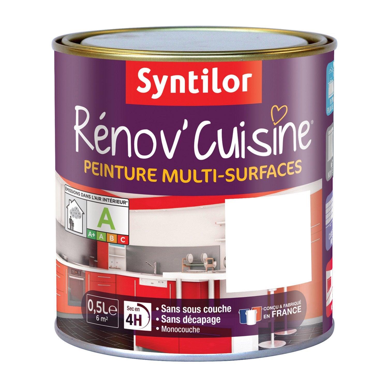 Peinture r nov 39 cuisine syntilor blanc 0 5 l leroy merlin for Peinture pour element de cuisine