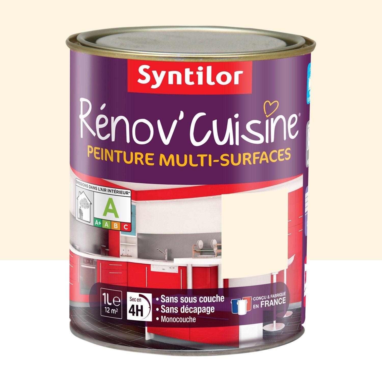 peinture rénov'cuisine syntilor, jaune vanille, 1 l | leroy merlin - Meuble Cuisine Couleur Vanille