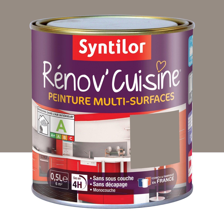 Peinture r nov 39 cuisine syntilor brun macaron 0 5 l leroy merlin for Quelle peinture pour meuble
