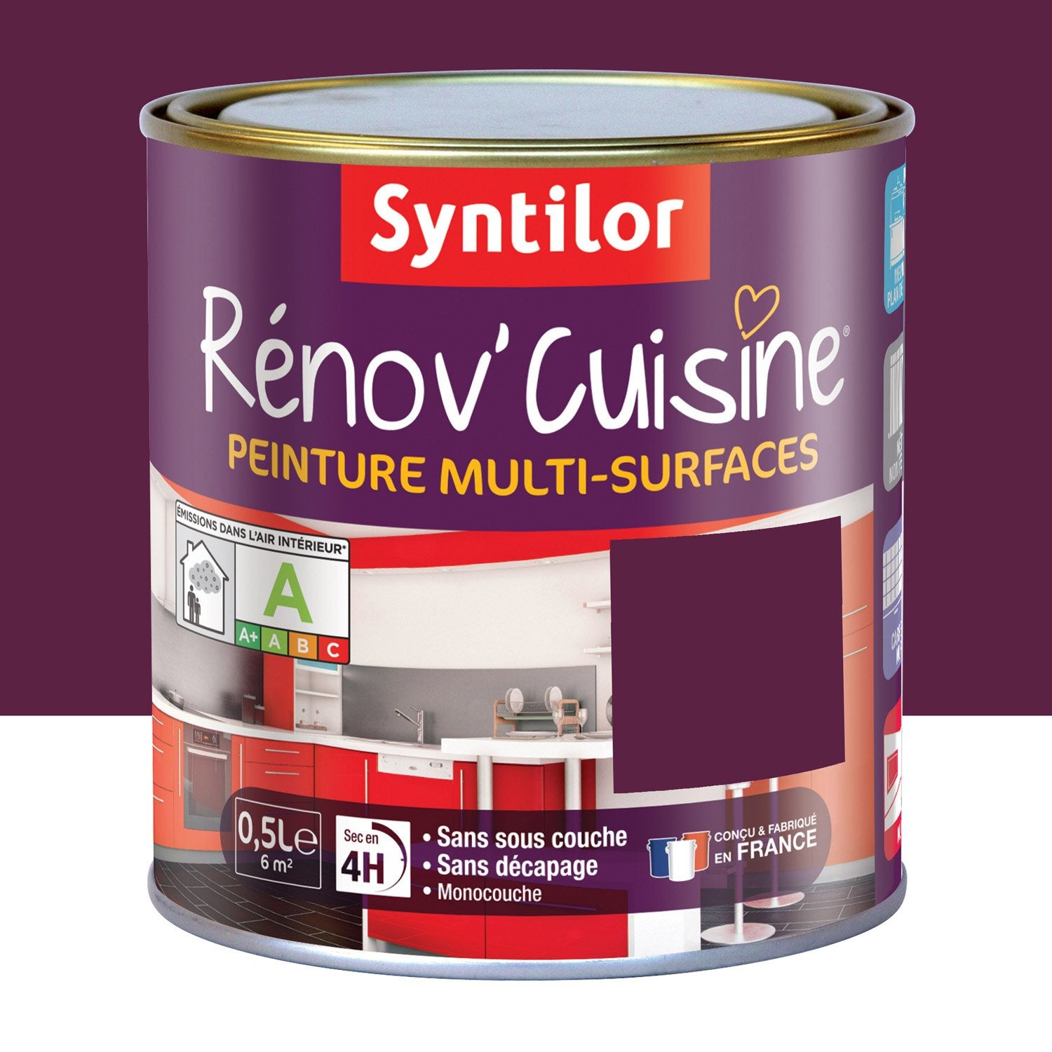 peinture de r novation r nov 39 cuisine syntilor aubergine 0 5 l leroy merlin. Black Bedroom Furniture Sets. Home Design Ideas