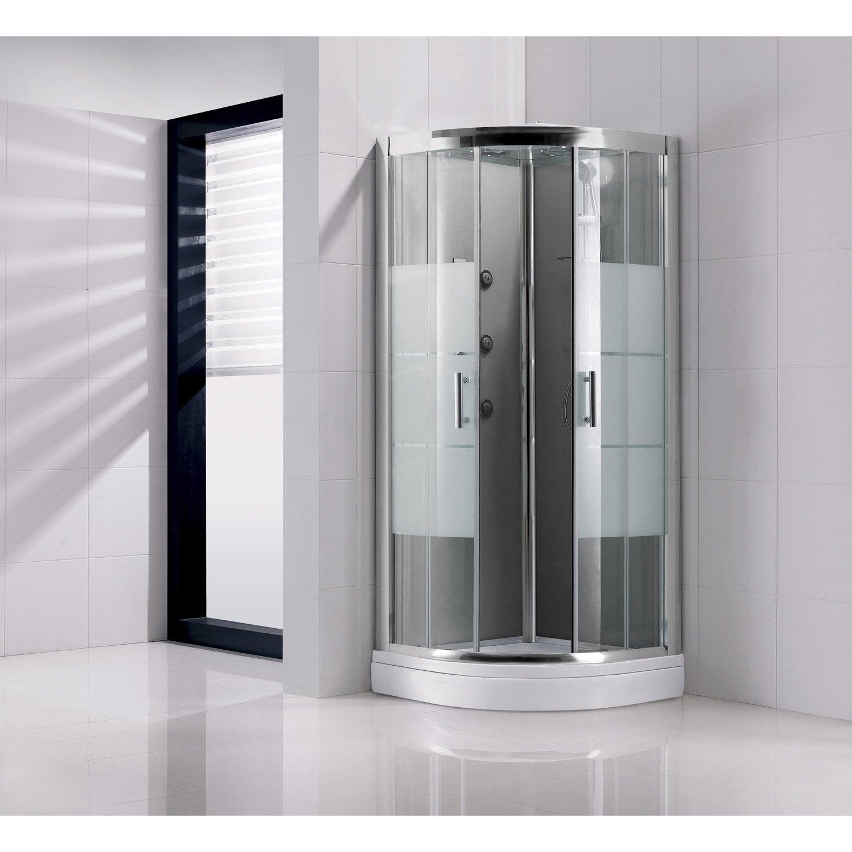Cabine de douche 1 4 de cercle 90x90 cm optima2 grise leroy merlin - Cabine douche integrale 90x90 ...