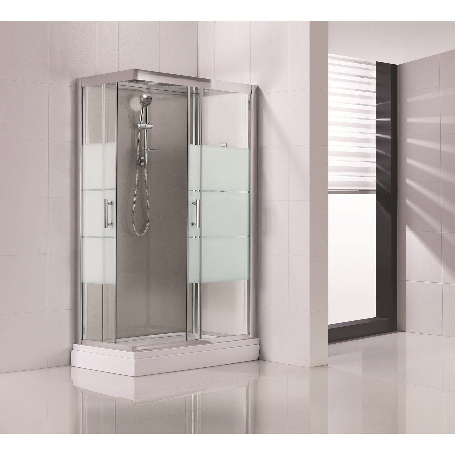 Souvent Cabine de douche rectangulaire 120x80 cm, Optima2 grise | Leroy Merlin CV53