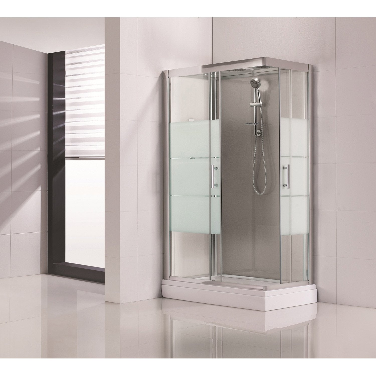 Cabine de douche rectangulaire 120x80 cm optima2 grise leroy merlin - Cabine douche rectangulaire ...