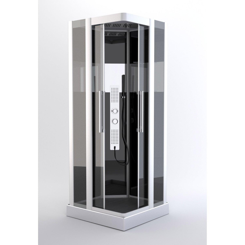Cabine de douche hydromassante carr 90x90 cm trendy - Leroy merlin cabine de douche ...