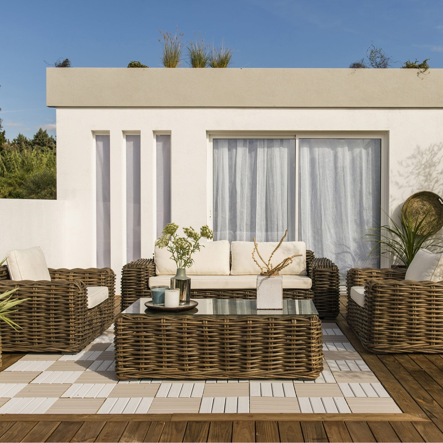 salon bas de jardin ayamonte bois naturelle 5 personnes. Black Bedroom Furniture Sets. Home Design Ideas