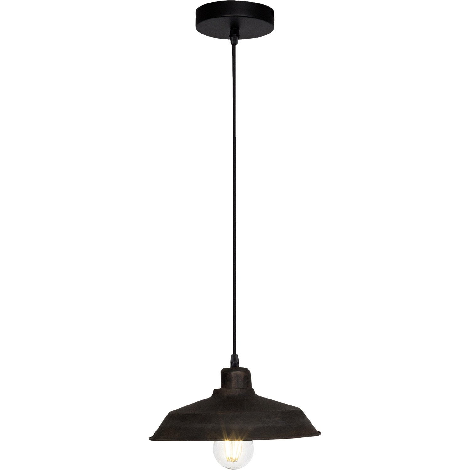 Suspension e14 style industriel dirt m tal rouille 1 x 60 - Suspension metal style industriel ...