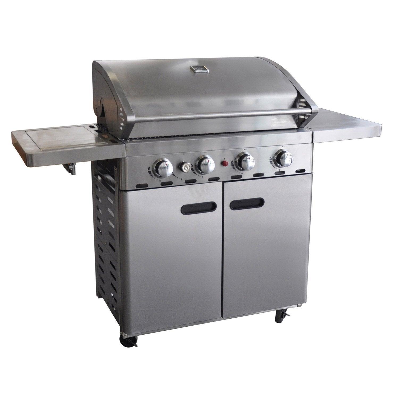 Charmant Pierre De Lave Barbecue Leroy Merlin #7: Barbecue Au Gaz NATERIAL Florida 4 Brûleurs Inox 5 Brûleurs, Gris | Leroy  Merlin