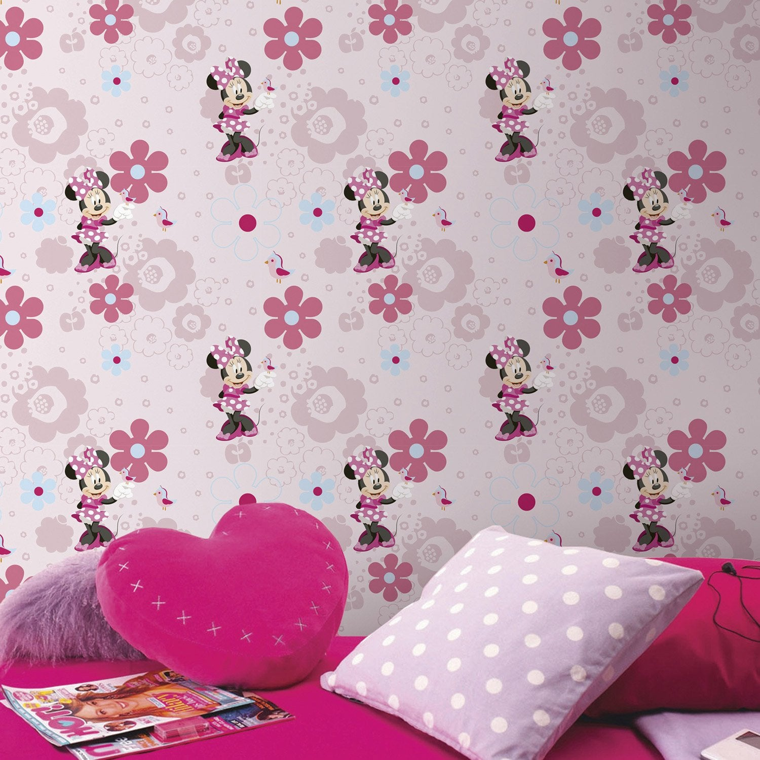 papier peint papier disney minnie rose leroy merlin. Black Bedroom Furniture Sets. Home Design Ideas